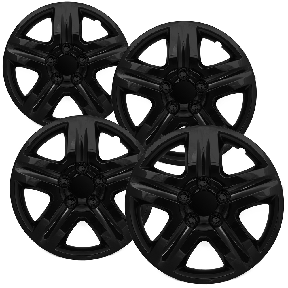 wheel covers 4 pc set chevy impala ice black hub caps 5 spoke lug skin 16