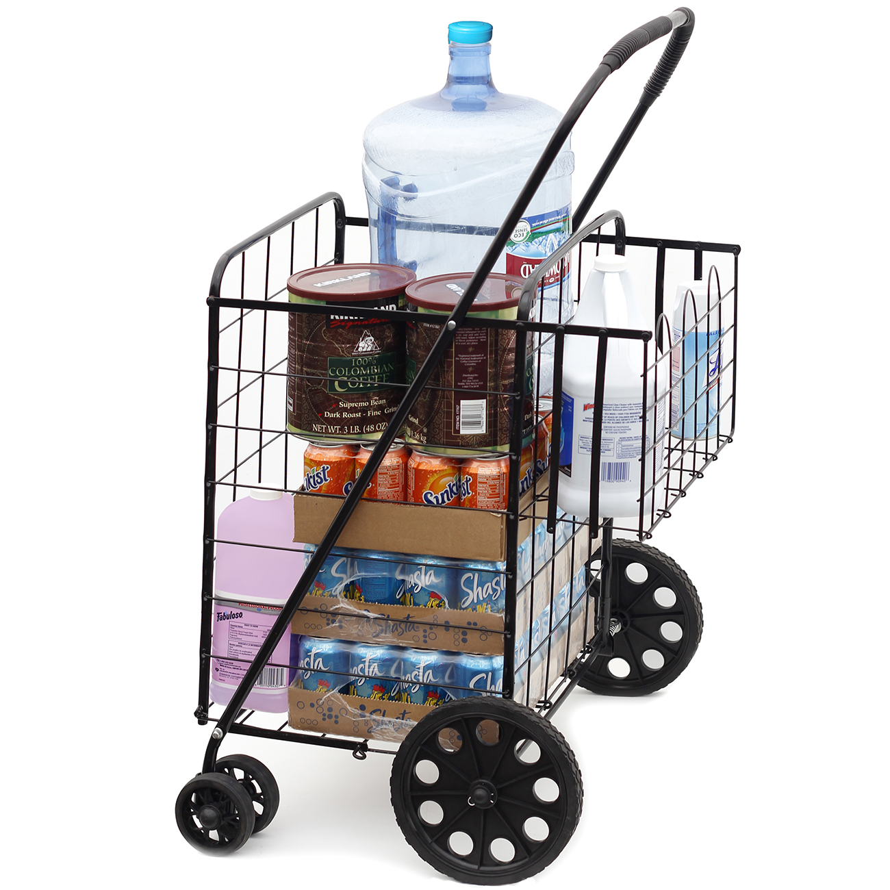 folding shopping cart jumbo size basket with wheels for laundry grocery travel