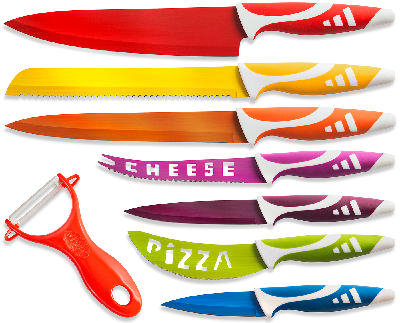 new colorful professional chef knife set multi use 8pc gift box for home kitchen ebay. Black Bedroom Furniture Sets. Home Design Ideas