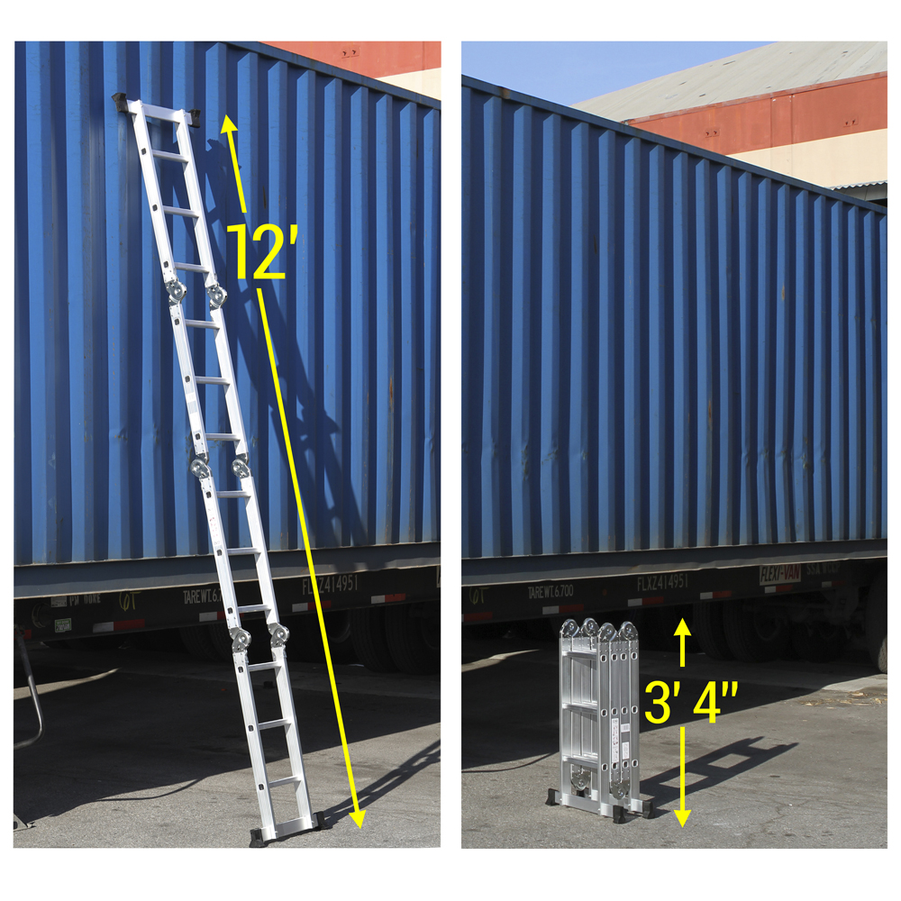 Metal Scaffolding Ladders : Oxgord heavy duty aluminum folding scaffold work ladder