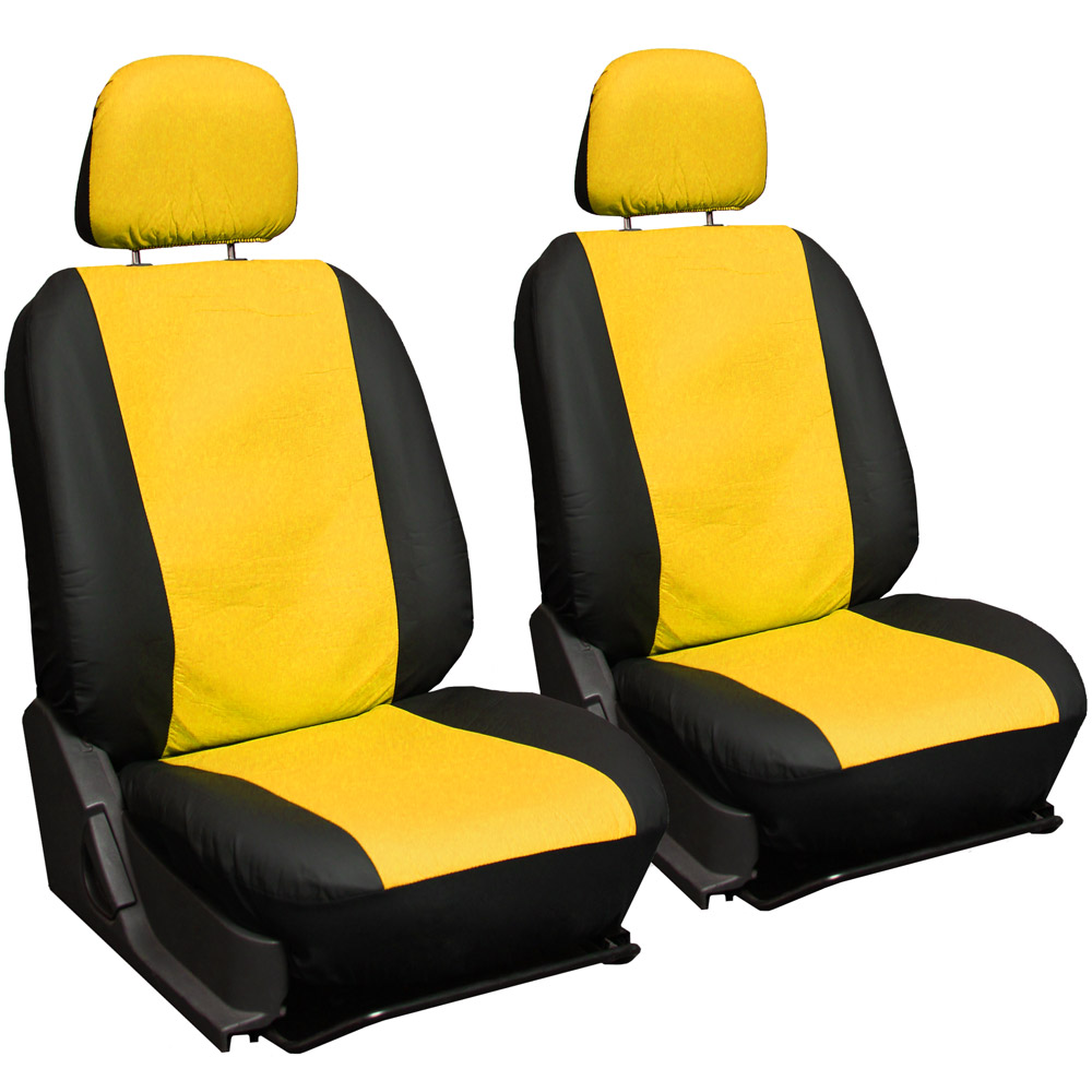 faux pu leather car seat covers 11 pc set superior yellow black bucket bench 1b ebay. Black Bedroom Furniture Sets. Home Design Ideas
