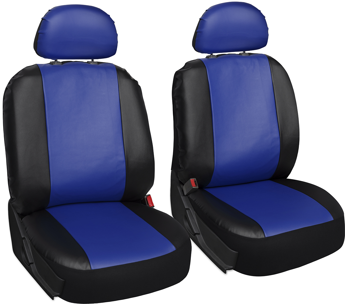 Faux Leather Car Seat Covers Blue Black 6pc Bucket Set W