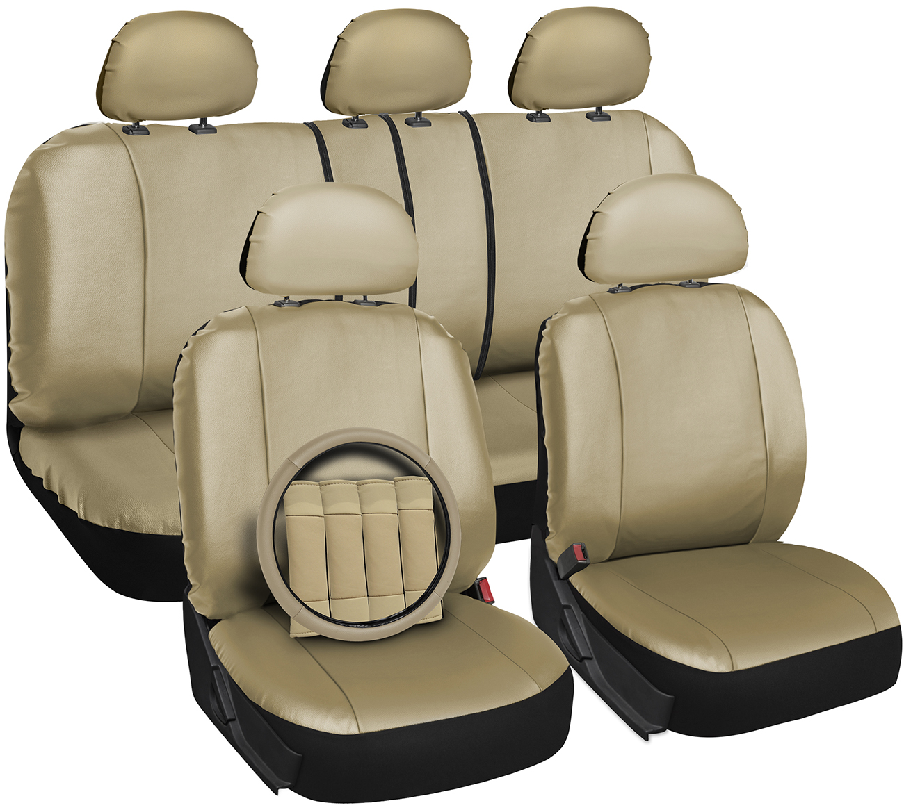 faux leather car seat covers beige 17pc set w steering wheel belt pad head rests ebay. Black Bedroom Furniture Sets. Home Design Ideas