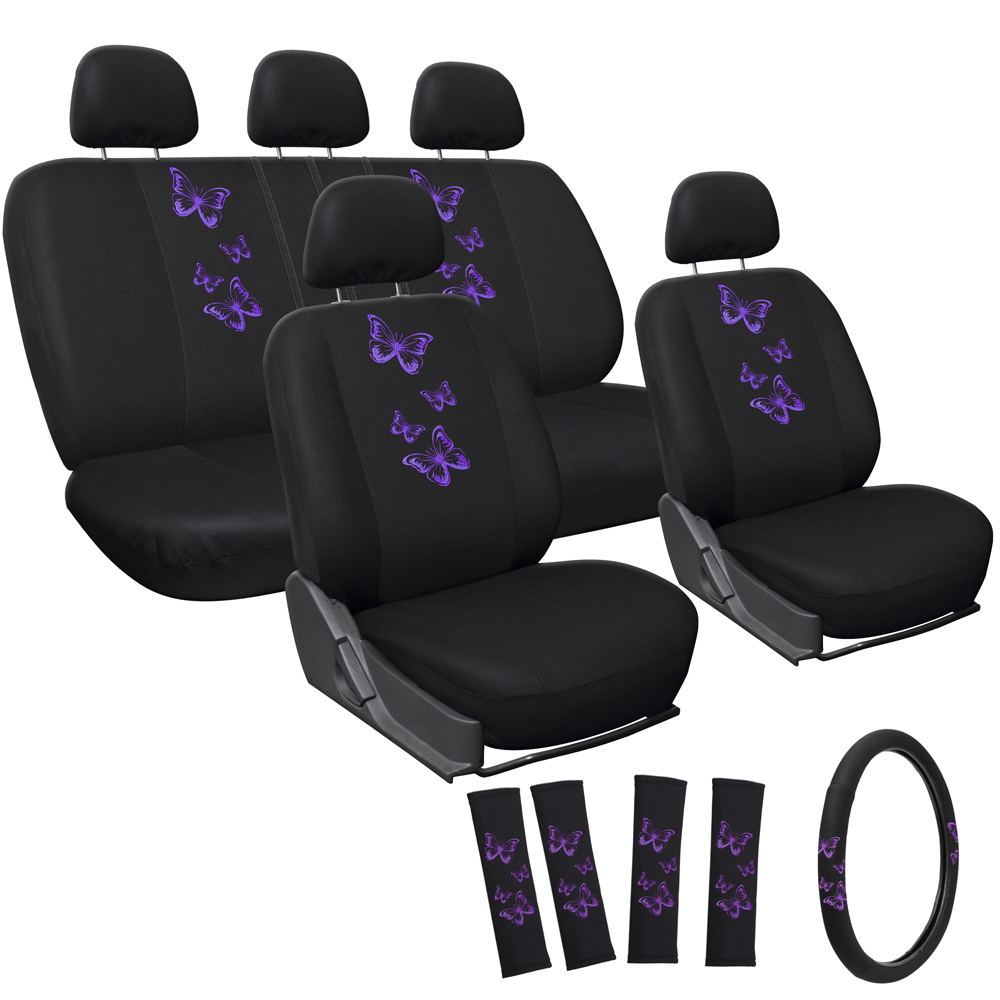 car seat covers purple butterfly 17pc set for auto w steering wheel head rests ebay. Black Bedroom Furniture Sets. Home Design Ideas