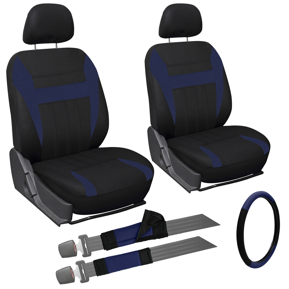 9 piece blue and black front car seat cover set bucket chair w steering wheel ebay. Black Bedroom Furniture Sets. Home Design Ideas