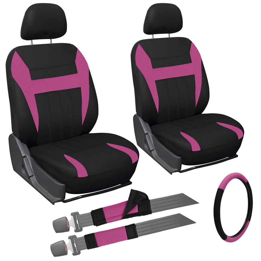 9 Piece Pink And Black Front Car Seat Cover Set Bucket