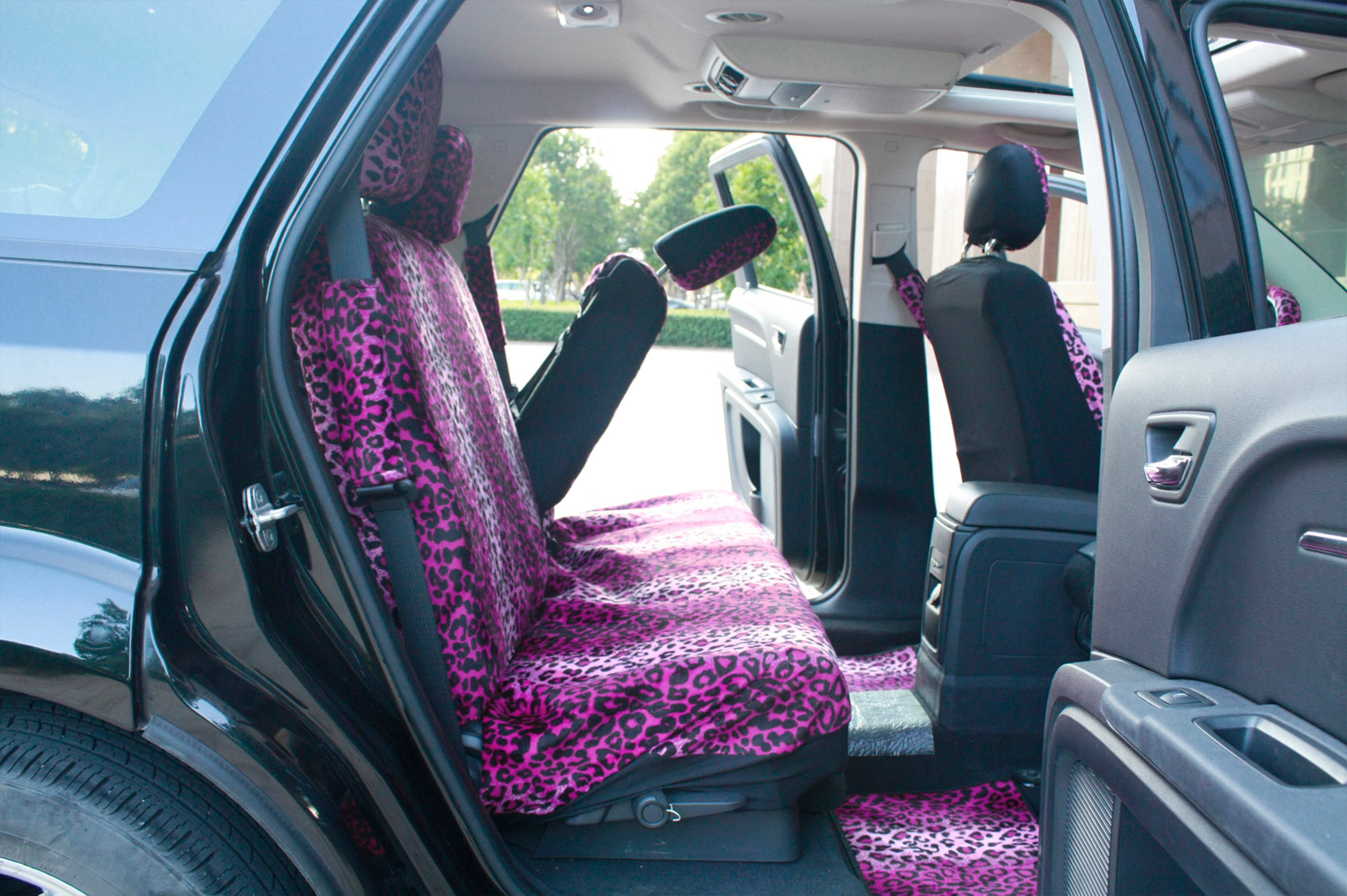11pc Leopard Pink and Black Animal Print Complete Car Seat Cover Full Set Std
